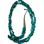 "Vintage  3 Strand  Turquoise Necklace with Sterling Beads and Closure - 29"" Long"