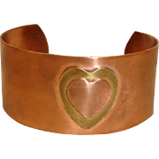 Vintage Copper and Brass Bracelet - Hand Wrought Wide Cuff Bracelet With Raised Hearts