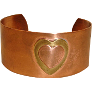 Vintage Genuine Copper and Brass Hand Wrought Bracelet - Wide Cuff Bracelet With Raised Hearts