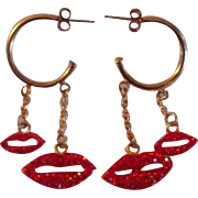 Vintage Butler & Wilson Red Crystal Double Lips Hoop Earrings  - Vintage Butler & Wilson of London