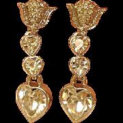 Vintage Butler Wilson Silver Tone Dangling Heart Earrings - Drop Heart Earrings