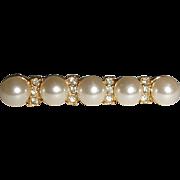 Vintage Faux Pearl and Rhinestone Bar Pin Brooch