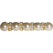 Vintage  Gold Tone Glass Pearl Bar Pin - Brooch