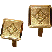"Stylized ""B""  18K  Solid Yellow Gold Cufflinks - Vintage 18K Cuff Links"