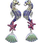 Estate Sea Horse Earrings - Couture Seahorse Pierced Earrings