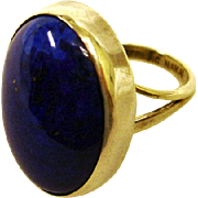 Vintage Lapis Lazuli Cabochon Ring - Sterling Silver NAKAI Native American Ring - Size 7 US