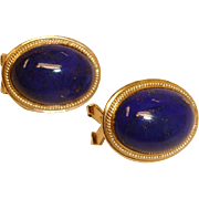 Vintage 14K Gold Blue Lapis Lazuli Cabochon - Pierced Earrings