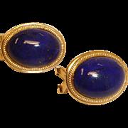 Vintage Blue Lapis Lazuli Cabochon 14K Gold Pierced Earrings