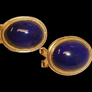 Vintage 14K Gold Blue Lapis Lazuli Cabochon - Pierced Earrings