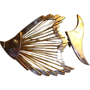 Modernist Taxco Mexican Sterling 925 FISH Brooch - Pin Fish Bones Brass Wire and Sterling Silver