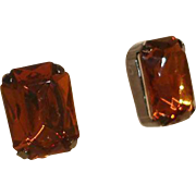 Joan Rivers Antique Finish  -  Topaz Color Emerald-Cut Stud