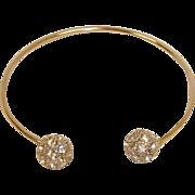 Vintage Rhinestone Bangle Bracelet - Silver Plated Rhinestone Cuff Bracelet