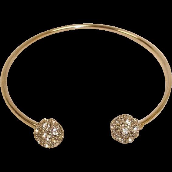 Rhinestone Bangle Bracelet - Silver Plated Rhinestone Cuff Bracelet
