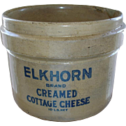 Antique ELKHORN Cottage Cheese Crock - RARE - Colbalt Blue Lettering Stoneware - Rustic Farmhouse Primitives