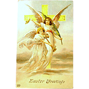 Antique Embossed Easter Greeting Postcard - Angels Post Card UNUSED