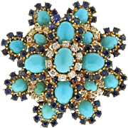 Rhinestone and Turquoise Brooch - Tiered Flower Brooch Pin