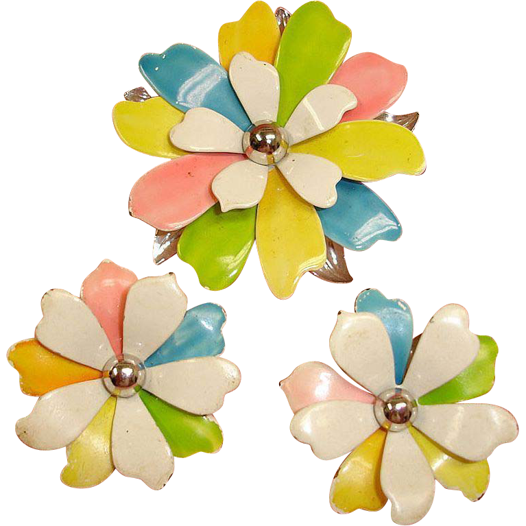 Vintage Sarah Coventry Demi Parure Brooch Earrings Set – Mid Century Modern Jewelry