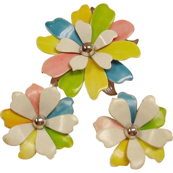 Vintage Sarah Coventry Demi Parure Brooch Earrings Set – Mid Century Modern Jewelry