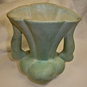 "Vintage NILOAK Pottery Vase in Light Green – 6"" High"