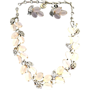 Liner Necklace and Earrings Set - Vintage Lisner Demi Parure Jewelry