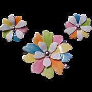 Vintage Multi Color Enameled Flower Brooch and Earrings Set - Vintage Sarah Coventry Demi Parure Jewelry