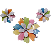 Vintage Multi Color Enameled Flower Brooch and Earrings Set - Vintage Sarah Coventry Demi Parure Jewelry
