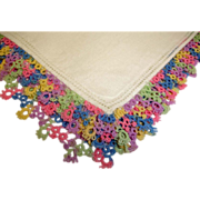 Vintage Linen Hankie Handkerchief with Multi Color Fancy Crochet Trim