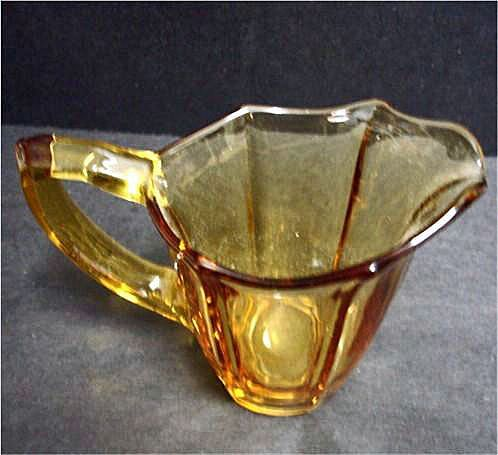 Vintage Deep Yellow Glass Creamer - Amber Glass Creamer