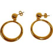 Estate Hoop Earrings with Stud Golden Ball – Pierced Earrings