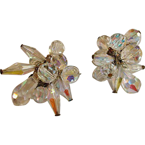 Crystal Glass Cluster Drop Earrings - Vintage Crystal Cha Cha Jewelry