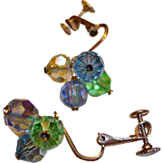 Crystal Bead Earrings - Vintage Clip-On Earrings - Blue Green and Champagne Color Beads