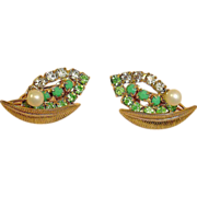 Green Rhinestone Earrings with Faux Pearl - Vintage Rhinestone Jewelry
