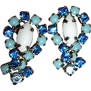 Milk Glass Blue Glass and Rhinestone Earrings - Vintage Screw Back Earrings