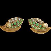 Green Rhinestone Earrings with Faux Pearl - Vintage Rhinestone Jewelry