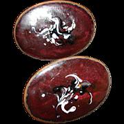 Copper Enameled Modernist Cufflinks / Cuff Links