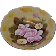 Vintage Porcelain Serving Bowl - Yellow Floral Hand-Painted China