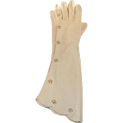 Vintage Ladies Opera Gloves - Creamy White Embroidered Faux Pearl and Scalloped  Gloves