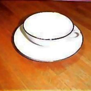 Vintage Franciscan China - Encanto Simplicity Platinum Band RETRO - Gladding McBean Cup & Saucer