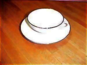 Vintage Franciscan China - Encanto Simplicity Platinum Band RETRO - Gladding McBean Cup & Saucer