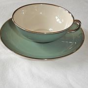 Franciscan China Cup and Saucer Set - SPRUCE Green - Gladding McBean of California - Mid Century Modern China