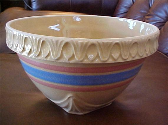 Vintage Pottery Yellow Ware Stoneware Bowl 8 1 2 In