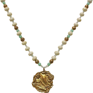 Vintage White and Turquoise Beaded Necklace with Art Nouveau Style Pendant - Estate Jewelry