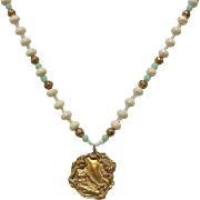Vintage White and Turquoise Crystal Beaded Yellow Gold Tone Necklace with Pendant - Estate Jewelry
