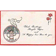 Antique - Happy New Year Greeting Postcard - 1915