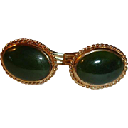 14K Yellow Gold Nephrite Jade Cufflinks  /  Cuff Links