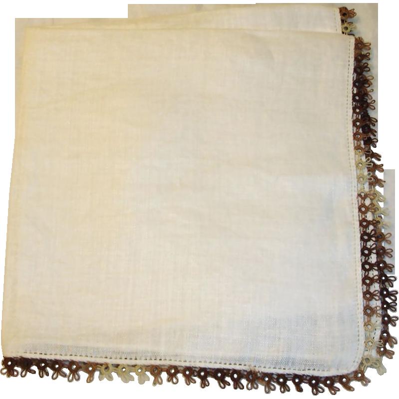 Vintage Ladies Linen Hankie - Brown Crochet Trim Handkerchief