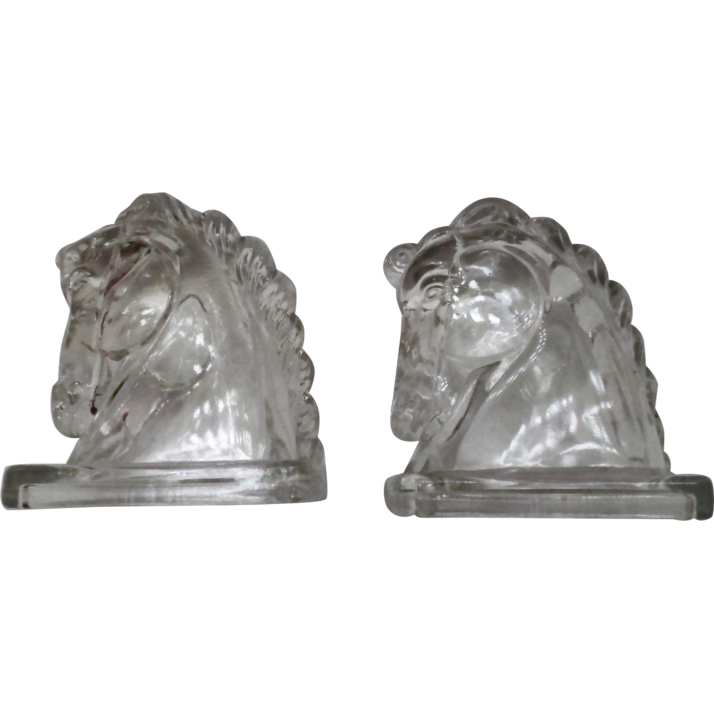Pair of Vintage Glass Decorative Horse Head Bookends – Mid Century Modern – Figural Federal Glass