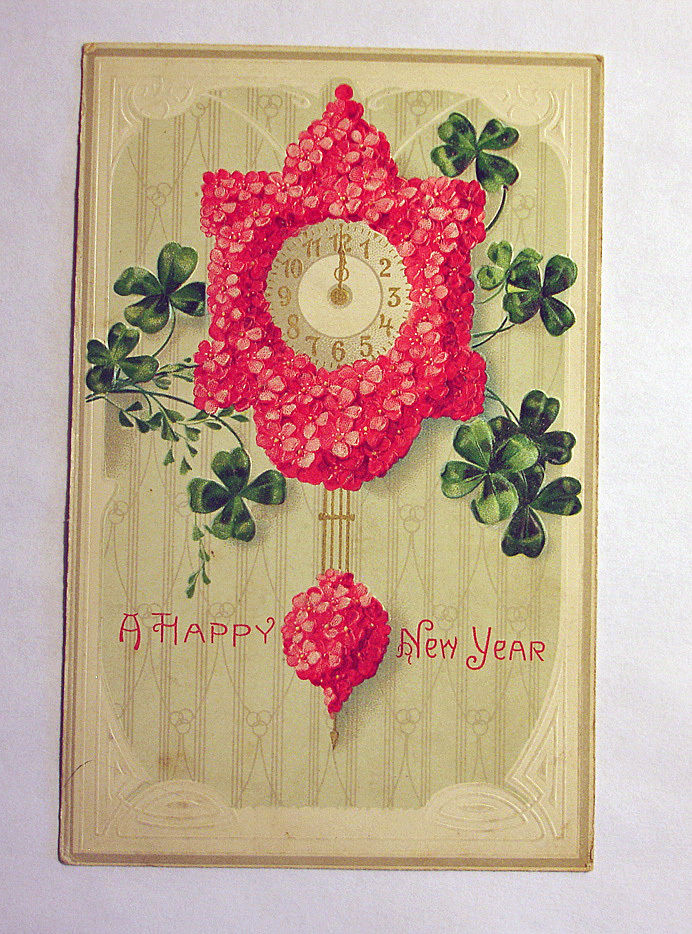 Vintage Happy New Year Embossed Postcard - Antique Post Cards