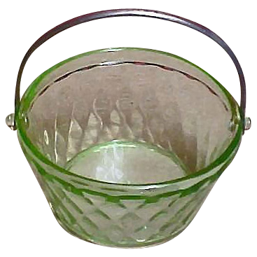Vintage FENTON Glass - ART DECO Green Glass Bucket - Round Bridge Bonbon