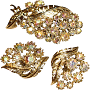 Vintage CORO Brooch and Earrings Set - Coro Signed Demi Parure